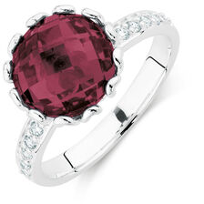 Burgundy & White Cubic Zirconia Stack Ring