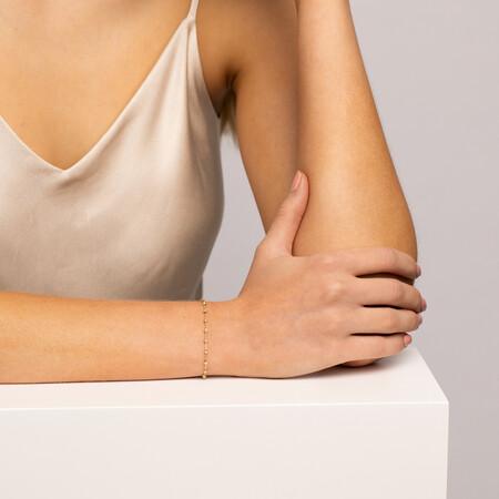 "19cm (7"") Beaded Bracelet in 10ct yellow Gold"