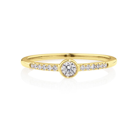 Promise Ring with 0.16 Carat TW of Diamonds in 10ct Yellow Gold