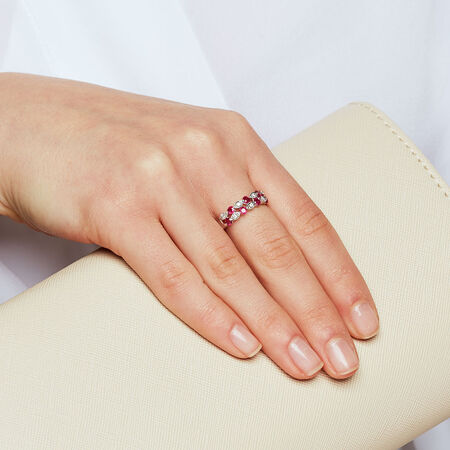 Ring with Rubies & Diamonds in 10ct White Gold