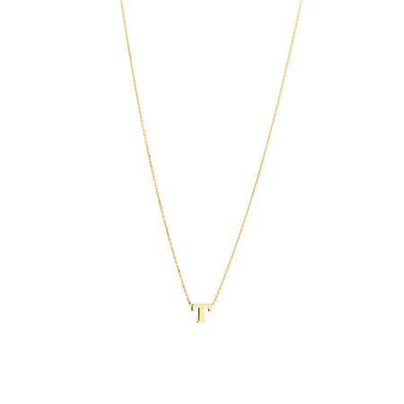 """T"" Initial Necklace in 10ct Yellow Gold"