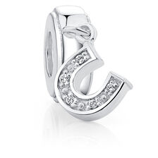 Cubic Zirconia & Sterling Silver Horseshoe Charm