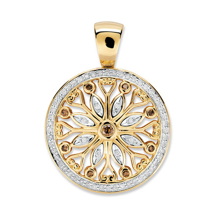 Enhancer Pendant with 1/2 Carat TW of Champagne Diamonds in 10ct Yellow Gold