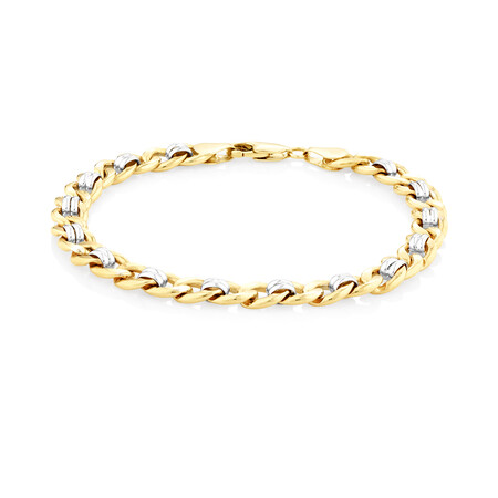 """21cm (8.5"""") Fancy Curb Bracelet in 10ct Yellow & White Gold"""