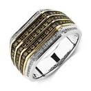 Men's Ring with 3/4 Carat TW of Brown & White Diamonds in 10ct Yellow & White Gold