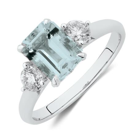 Ring with Aquamarine & 0.40 Carat TW of Diamondsin 10ct White Gold