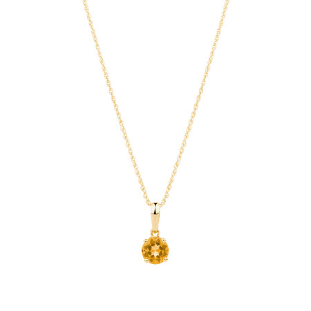 Pendant with Citrine in 10ct Yellow Gold