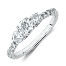 Three Stone Ring with 1 Carat TW of Diamonds in 14ct White Gold