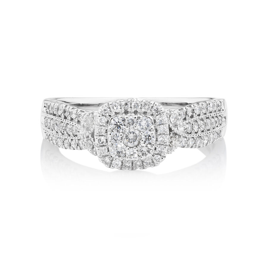 Halo Ring With Diamonds In 10ct White Gold