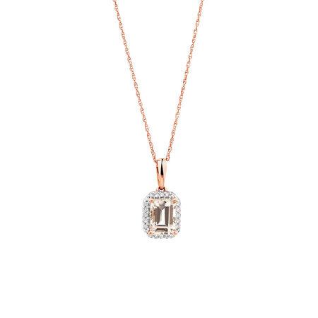 Pendant with Diamonds & Morganite in 10ct Rose Gold