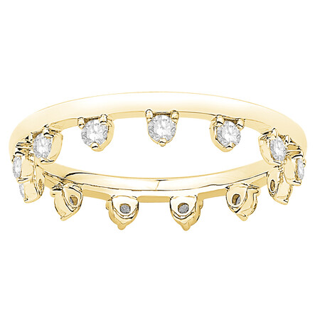 Zipper Ring with 0.44 Carat TW of Diamonds in 10ct Yellow Gold