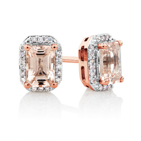 Stud Earrings with Diamonds & Morganite in 10ct Rose Gold