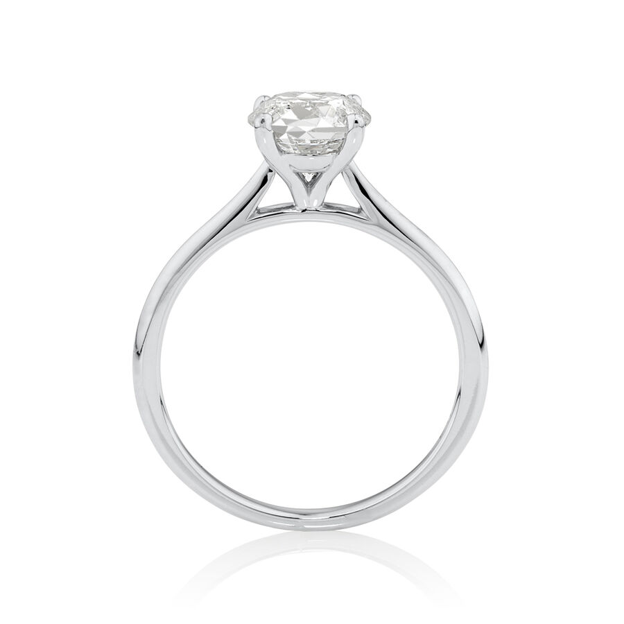 Evermore Certified Solitiare Engagement Ring with 1.50 Carat TW Diamond in 14ct White Gold