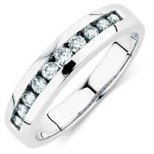 Men's Wedding Band with 1/4 Carat TW of Diamonds in 14ct White Gold
