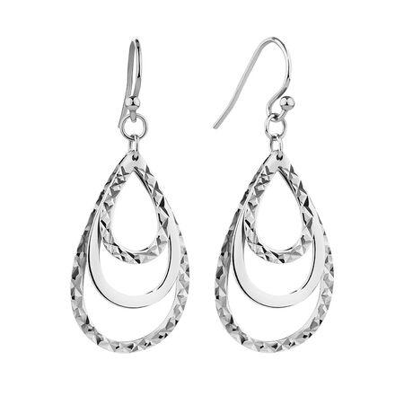 Plain and Diamond Cut Teardrop Earrings