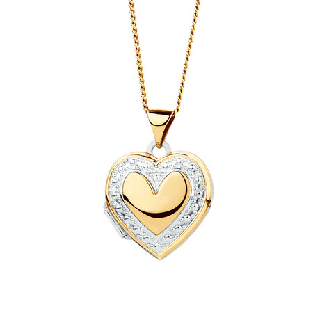 Heart Locket in 10ct Yellow Gold & Sterling Silver
