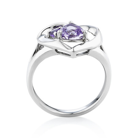 Heart Ring with Amethyst in Sterling Silver