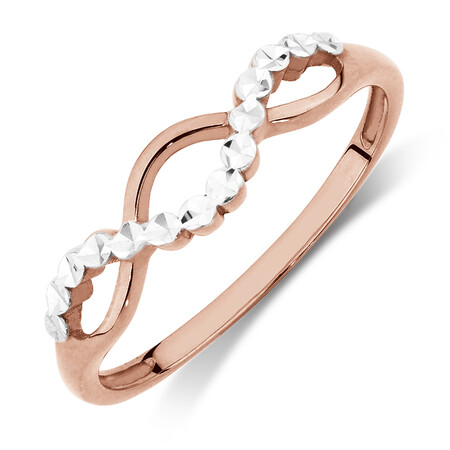 Crossover Ring in 10ct Rose & White Gold