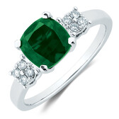 Ring with Diamonds & Created Emerald in 10ct White Gold