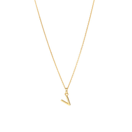 """""""V"""" Initial Pendant with Chain in 10ct Yellow Gold"""