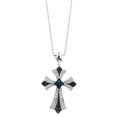 Pendant with 1/4 Carat TW of White & Enhanced Blue & Black Diamonds in Sterling Silver