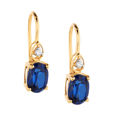 Drop Earrings with Sapphire & Diamonds in 10ct Yellow Gold