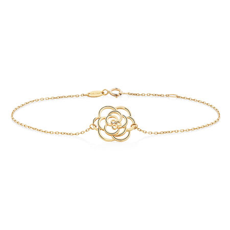 "19cm (7.5"") Rose Bracelet in 10ct Yellow Gold"