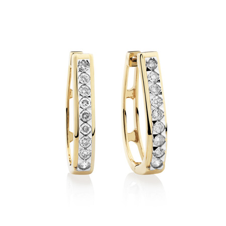 Huggie Earrings with 0.50 Carat TW of Diamonds in 10ct Yellow Gold