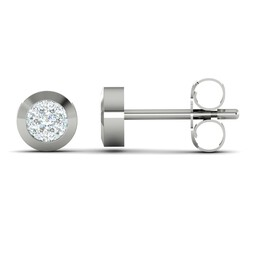 Cluster Stud Earrings with 0.15 Carat TW of Diamonds in 10ct White Gold
