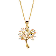 Tree of Life Pendant in 10ct Yellow, White & Rose Gold