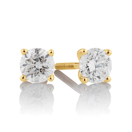 Stud Earrings with 0.70 Carat TW of Diamonds in 14ct Yellow Gold