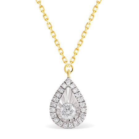 Pear Necklace With 0.12 Carat TW Of Diamonds In 10ct Yellow Gold