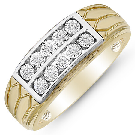 Ring with 0.10 Carat TW of Diamonds in 10ct Yellow and White Gold
