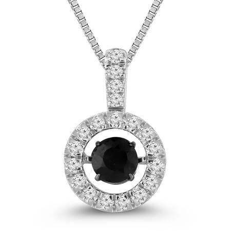 Everlight Pendant with Sapphire and Diamond in 10ct White Gold