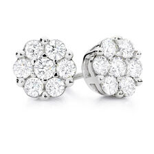 Cluster Stud Earrings with 1 Carat TW of Diamonds in 10ct White Gold