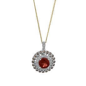 Pendant with Garnet & 0.37 Carat TW of White & Brown Diamonds in 14ct White Gold