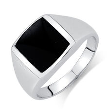 Men's Ring with Onyx in Sterling Silver