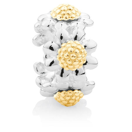 10ct Yellow Gold & Sterling Silver Flower Charm