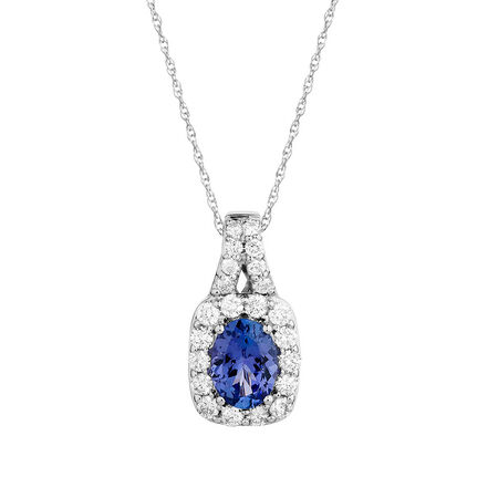 Pendant with Tanzanite & 3/4 Carat TW of Diamonds in 14ct White Gold
