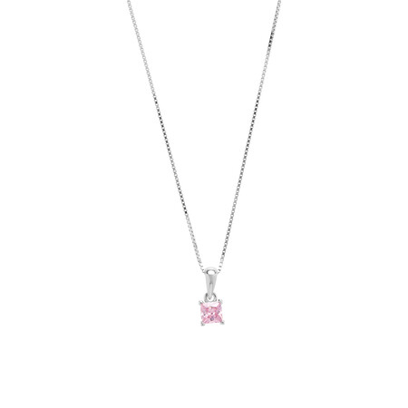 Square Pendant with Pink Cubic Zirconia in Sterling Silver