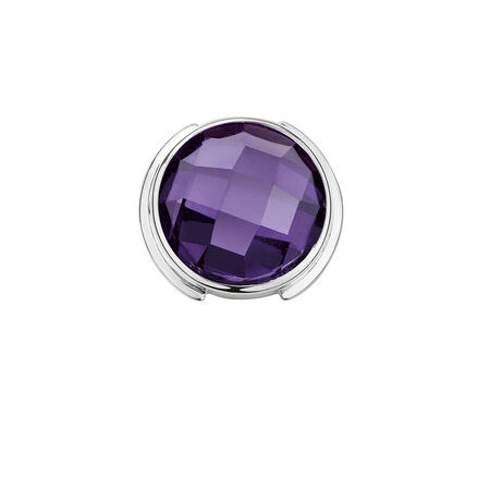 Mini Coin Locket Insert with Purple Cubic Zirconia in Sterling Silver