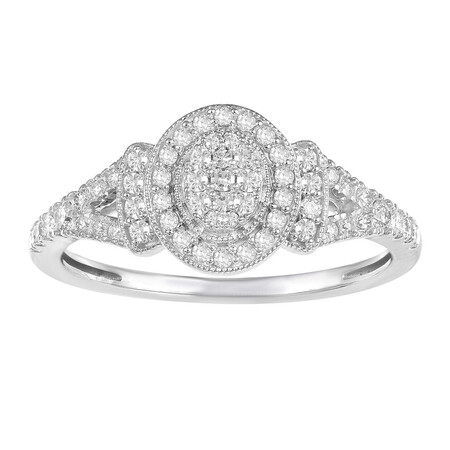 Oval Ring with 0.33 Carat TW of Diamonds in 10ct White Gold