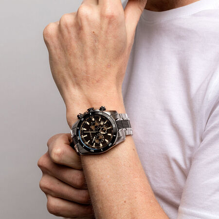 Men's Chronograph Watch in Stainless Steel & Black Resin
