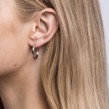 15mm Square Twist Hoop Earrings in Sterling Silver