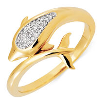 Dolphin Ring with Diamonds in 10ct Yellow Gold