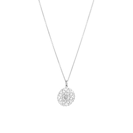 Floral Pendant in Sterling Silver