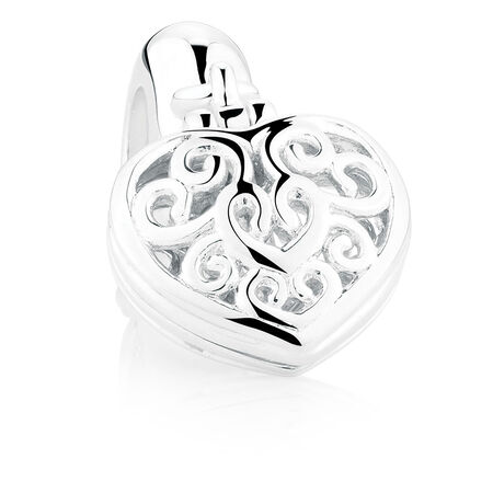 Heart Locket Dangle Charm in Sterling Silver & 10ct Yellow Gold