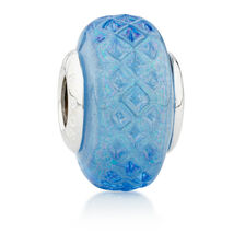 Online Exclusive - Patterned Blue Glass Charm in Sterling Silver