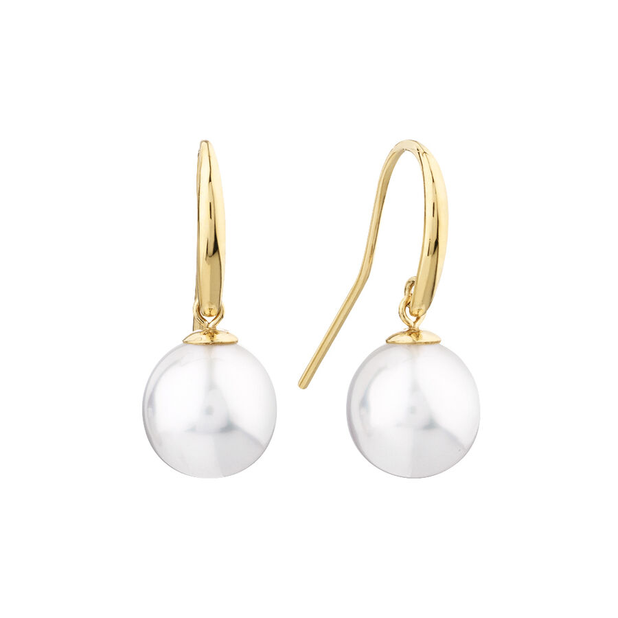Drop Earrings With Cultured South Sea Pearl In 14ct Yellow Gold