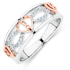 Infinitas Ring with Diamonds in Sterling Silver & 10ct Rose Gold
